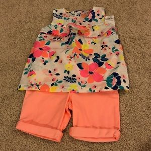 New! Toddler Girls Carters Shirt and Shorts Outfit